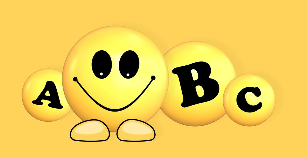 ABC letters with smiley face