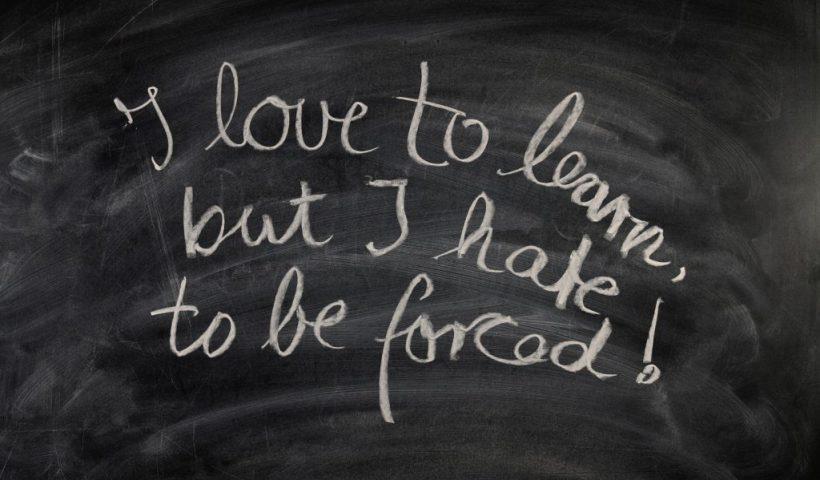 Writing on a blackboard
